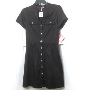 6 Degrees Brown Medium Button Up V-Neck Dress